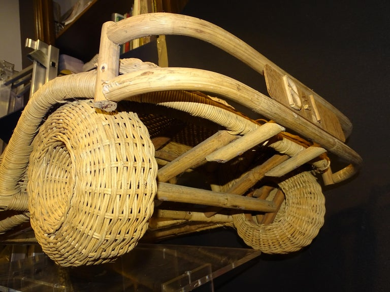 60s Beetle Car Rattan Sculture, Toy , Italy For Sale 2