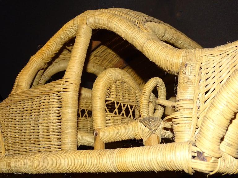 60s Beetle Car Rattan Sculture, Toy , Italy For Sale 3