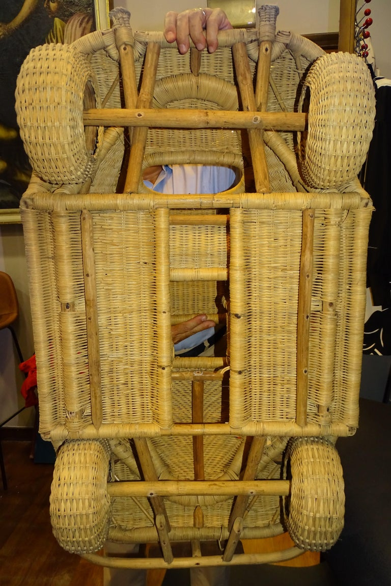 60s Beetle Car Rattan Sculture, Toy , Italy For Sale 5