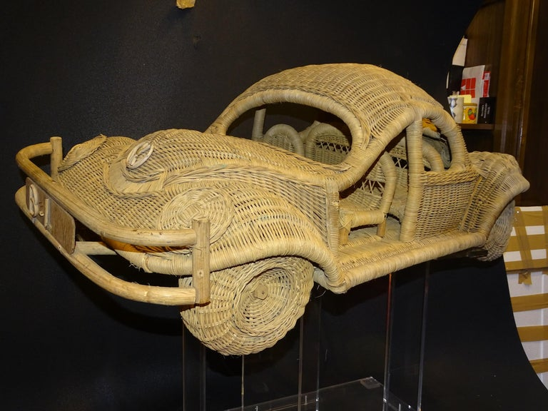 60s Beetle Car Rattan Sculture, Toy , Italy For Sale 7