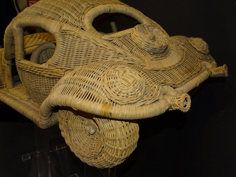 60s Beetle Car Rattan Sculture, Toy , Italy For Sale 8