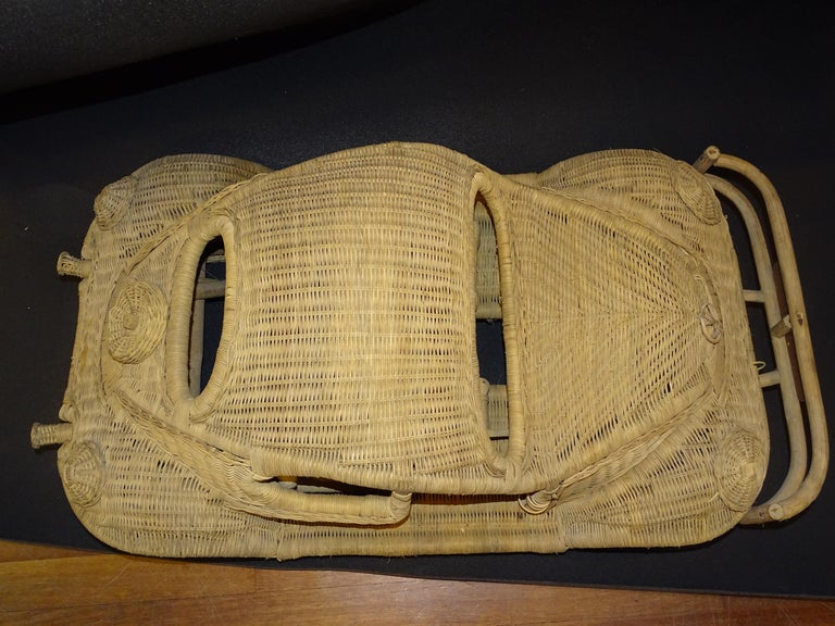 60s Beetle Car Rattan Sculture, Toy , Italy For Sale 9