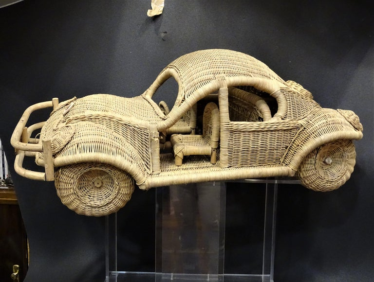 60s Beetle Car Rattan Sculture, Toy , Italy For Sale 11