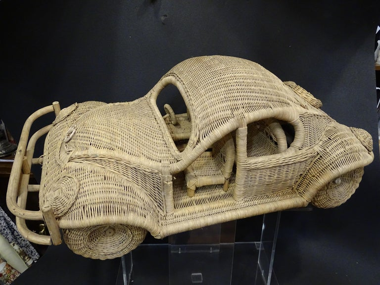 60s Beetle Car Rattan Sculture, Toy , Italy For Sale 12
