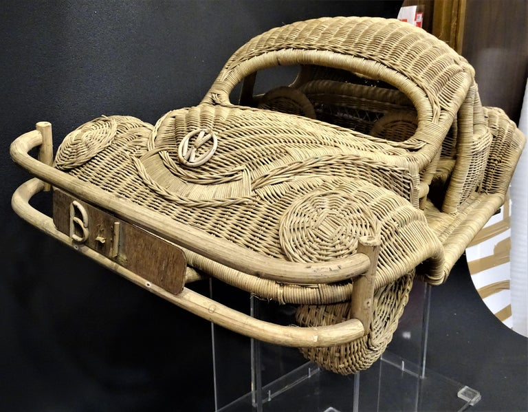 Hand-Crafted 60s Beetle Car Rattan Sculture, Toy , Italy For Sale
