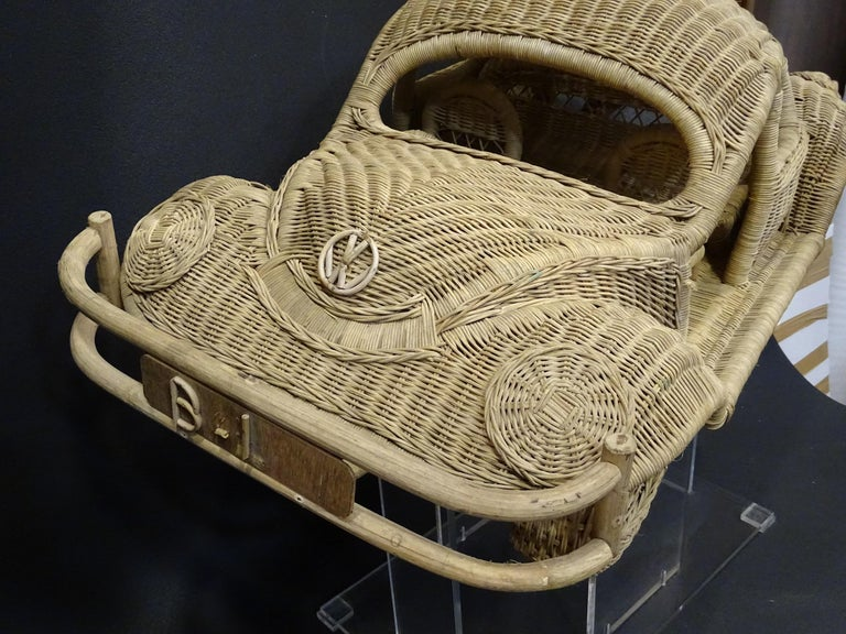 Mid-20th Century 60s Beetle Car Rattan Sculture, Toy , Italy For Sale