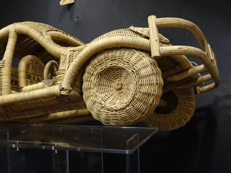 Wicker 60s Beetle Car Rattan Sculture, Toy , Italy For Sale