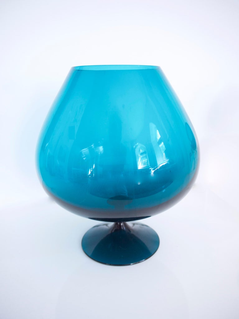 1960s Brandy Glass Vase ELME Glasbruk and 'Party Kugel' W German Space Age In Good Condition For Sale In Halstead, GB