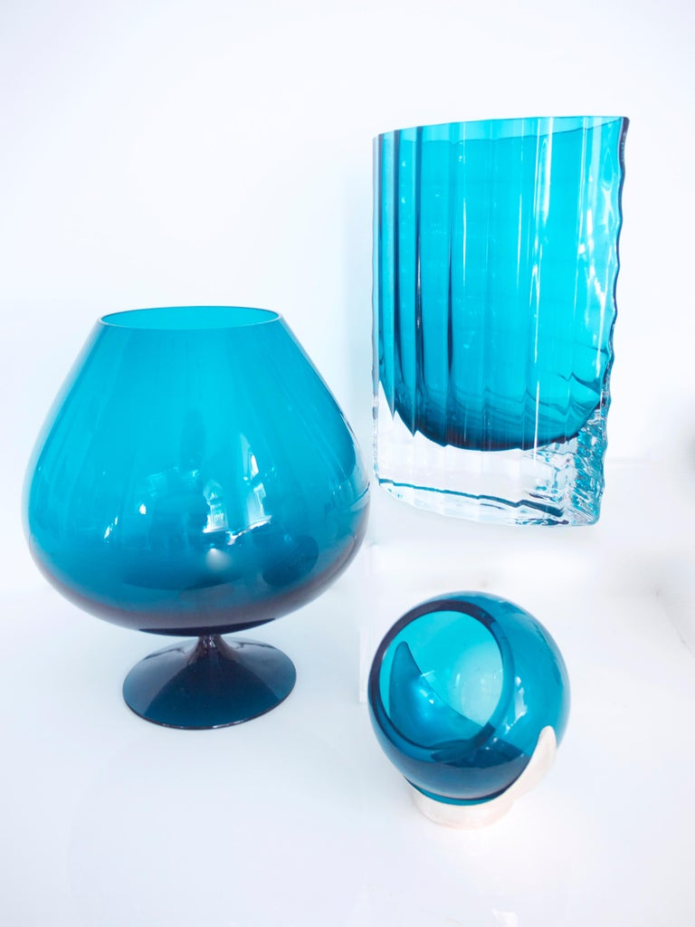 1960s Brandy Glass Vase ELME Glasbruk and 'Party Kugel' W German Space Age For Sale 1