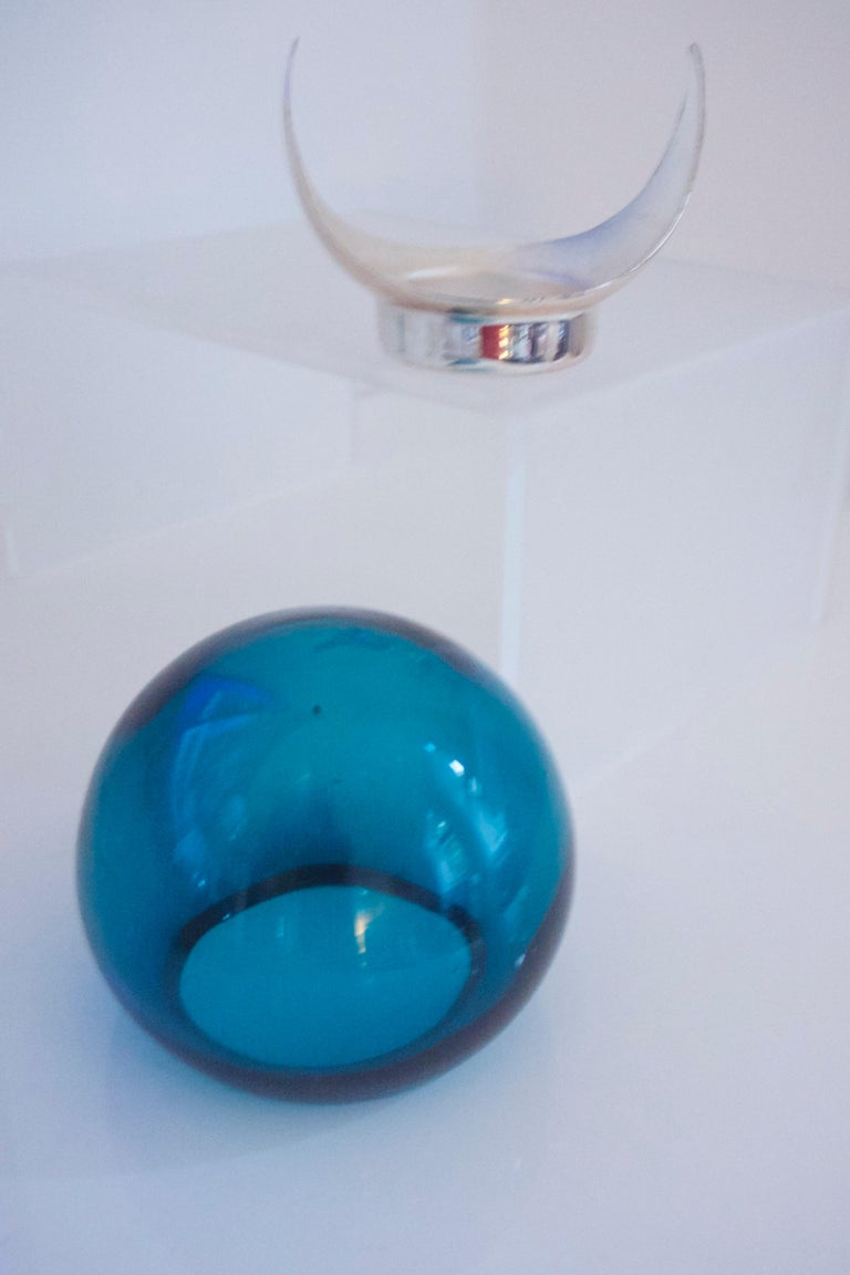 1960s Brandy Glass Vase ELME Glasbruk and 'Party Kugel' W German Space Age For Sale 2