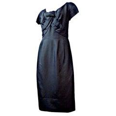 60s Christian Dior Silk Cocktail Dress w/ Bodice Detail