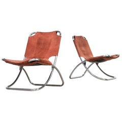 1960s Chrome Framed and Leather Folding Chair Set/2