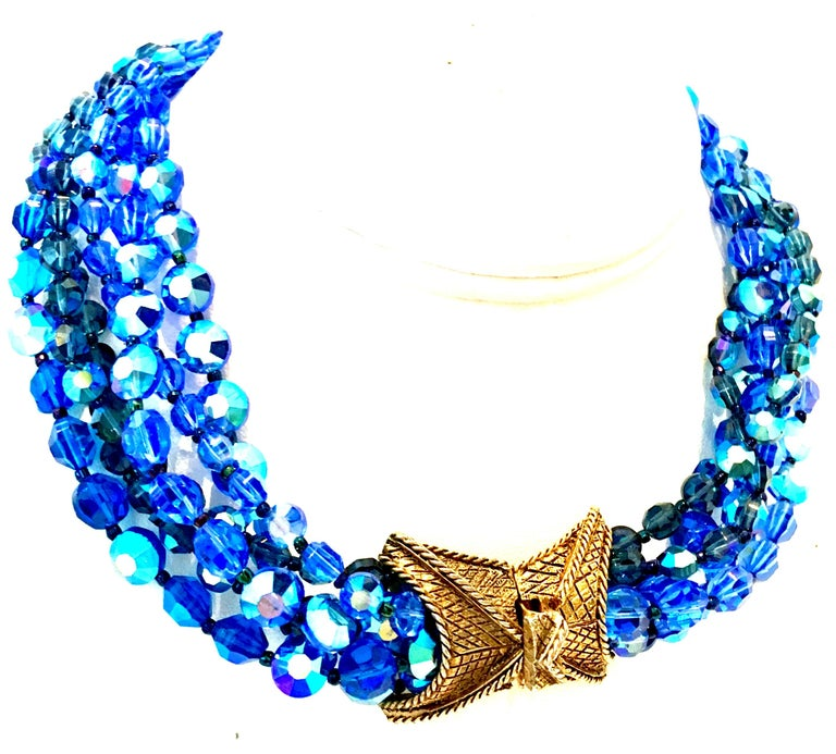 1960'S Outstanding Coppolo E Toppo Style Cut & Faceted Vibrant Shades of Blue Five-Strand Venetian Glass Bead Choker Style Necklace. This rare collectors piece features five strands of vibrant shades of blue iridescent tightly strung glass beads