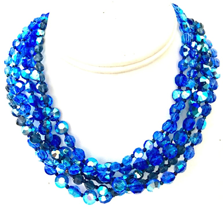 60'S Coppola E Toppo Style Five Strand Venetian Glass Bead Necklace In Good Condition For Sale In West Palm Beach, FL
