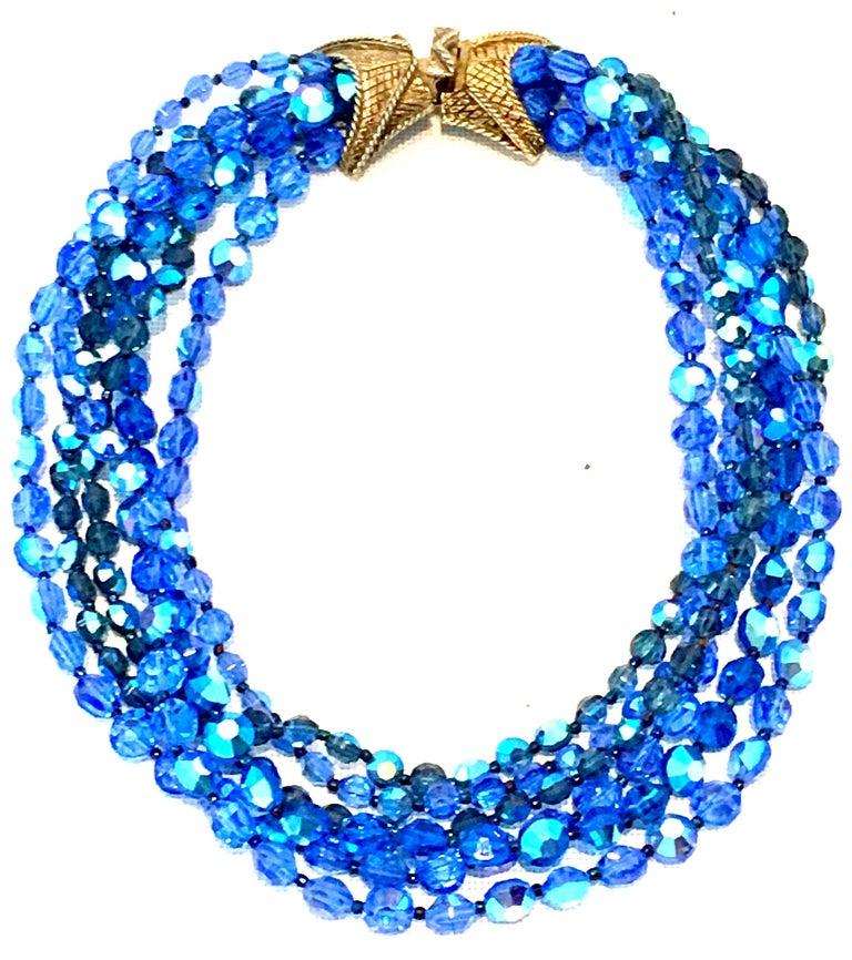 Women's or Men's 60'S Coppola E Toppo Style Five Strand Venetian Glass Bead Necklace For Sale