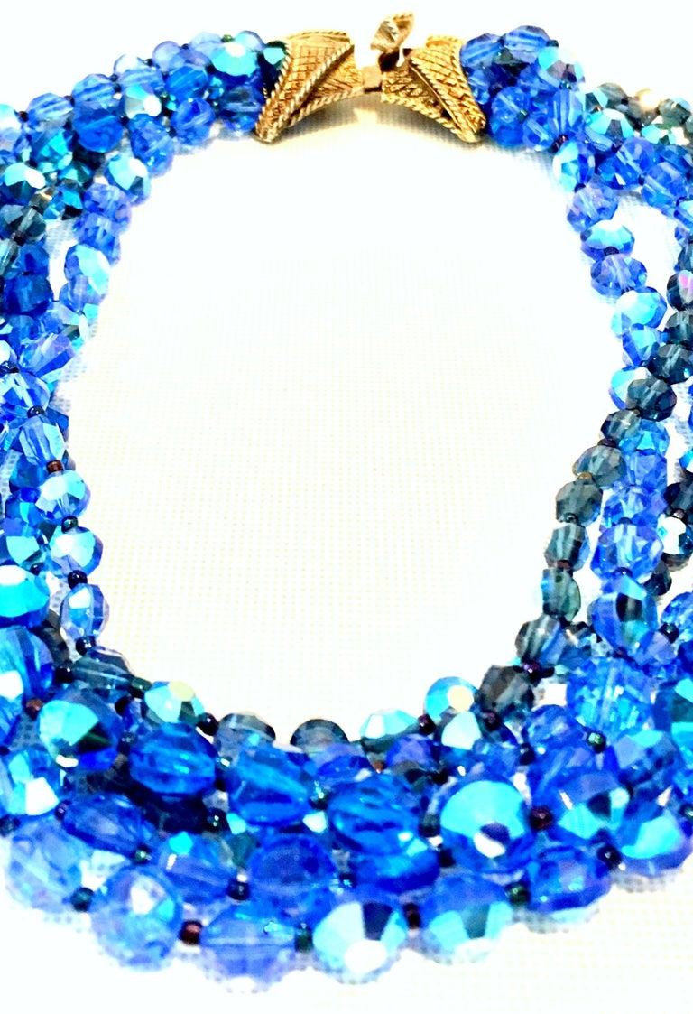 60'S Coppola E Toppo Style Five Strand Venetian Glass Bead Necklace For Sale 1