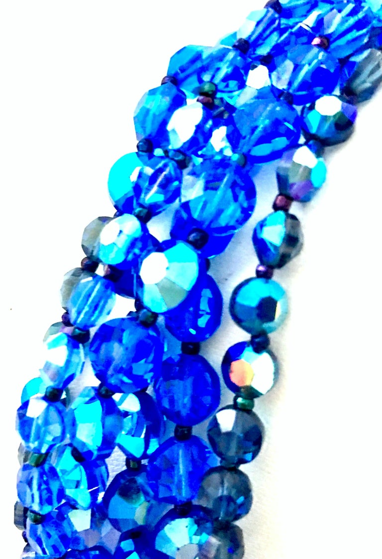 60'S Coppola E Toppo Style Five Strand Venetian Glass Bead Necklace For Sale 4