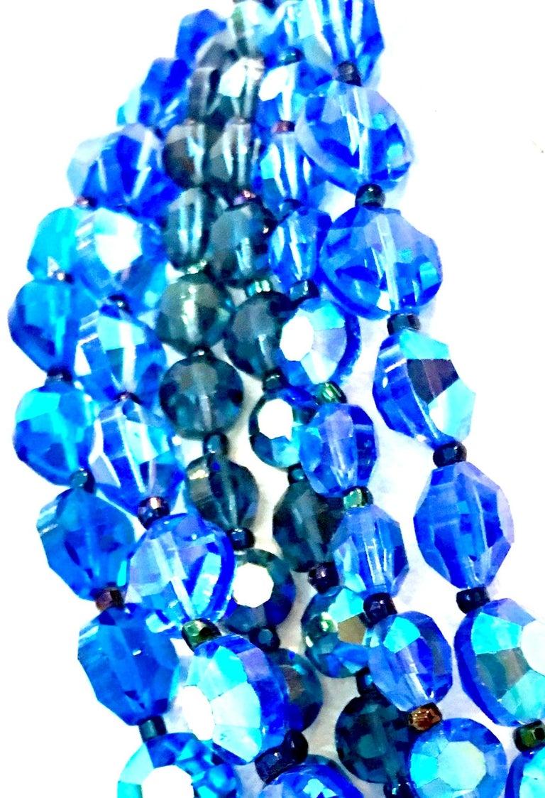 60'S Coppola E Toppo Style Five Strand Venetian Glass Bead Necklace For Sale 5