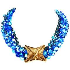 60'S Coppola E Toppo Style Five Strand Venetian Glass Bead Necklace