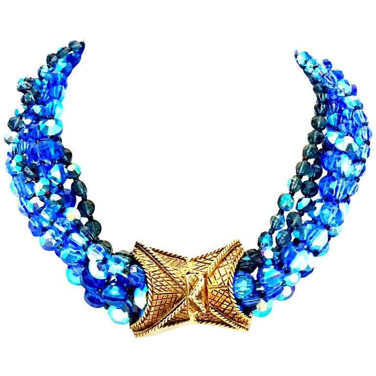 60'S Coppola E Toppo Style Five Strand Venetian Glass Bead Necklace For Sale