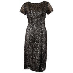 60's EISA by CRISTOBAL BALENCIAGA haute couture lace dress with sequins & beads
