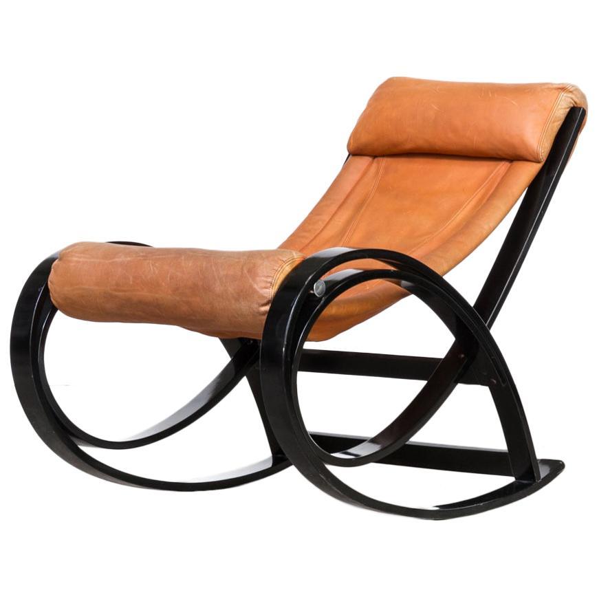 1960s Gae Aulenti 'Sgarsul' Rocking Chair for Poltronova