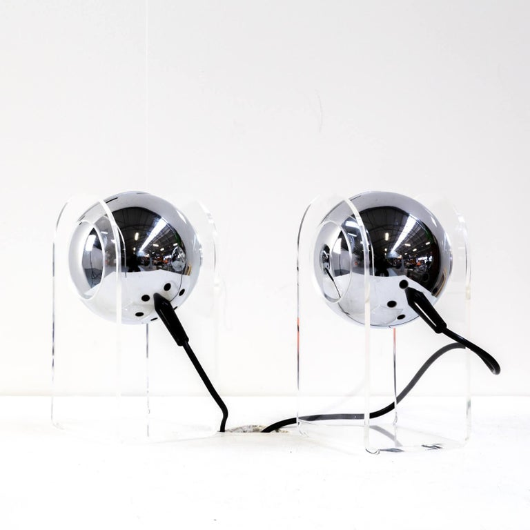 Mid-Century Modern 70s table lamp for Insta Sensorette set/2 For Sale