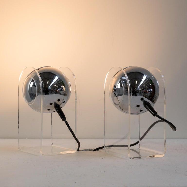 Italian 70s table lamp for Insta Sensorette set/2 For Sale