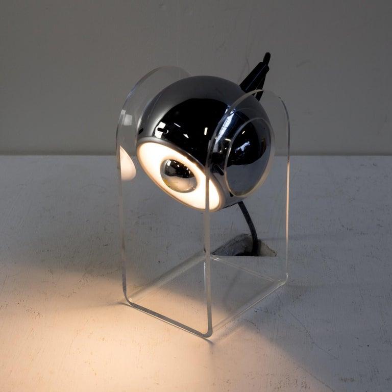Plastic 70s table lamp for Insta Sensorette set/2 For Sale