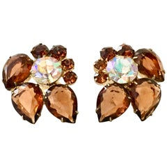 "60'S Gold & Austrian Crystal Abstract ""Flower"" Earrings By, Delizza & Elster"
