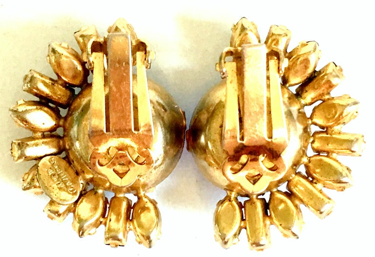 60'S Gold & Austrian Crystal Earrings By, Alice Caviness For Sale 5