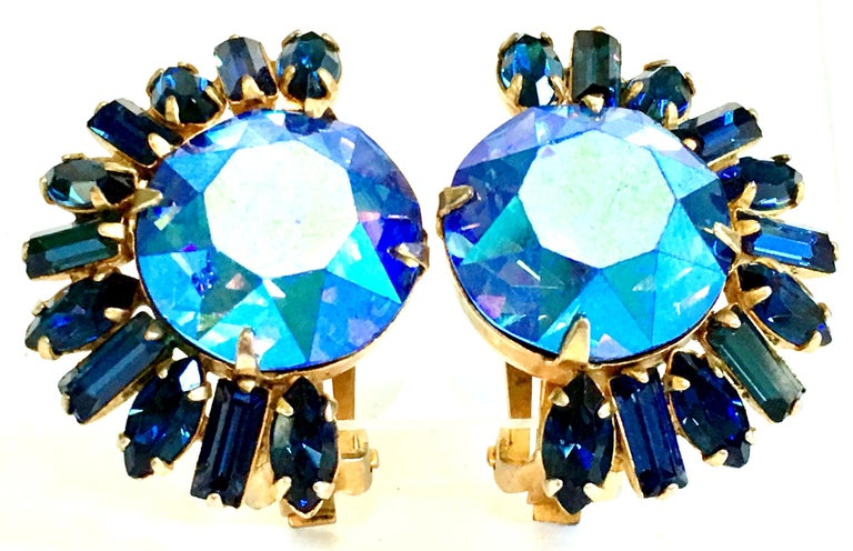 60'S Gold & Austrian Crystal Earrings By, Alice Caviness In Good Condition For Sale In West Palm Beach, FL