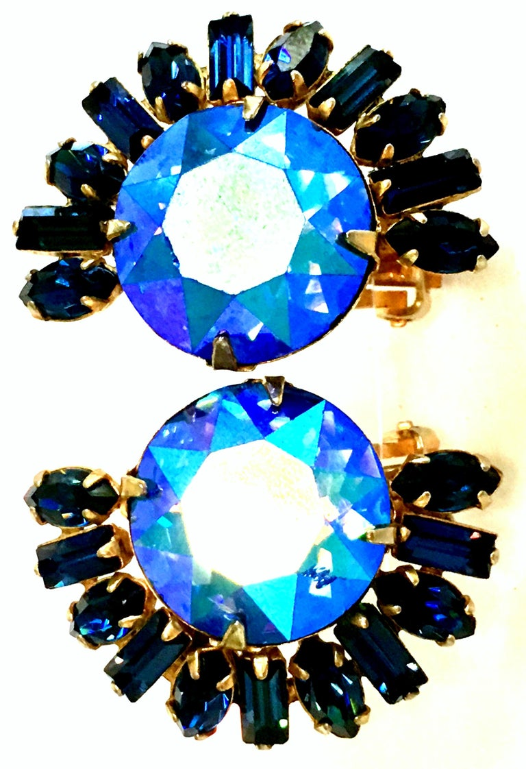 60'S Gold & Austrian Crystal Earrings By, Alice Caviness For Sale 2