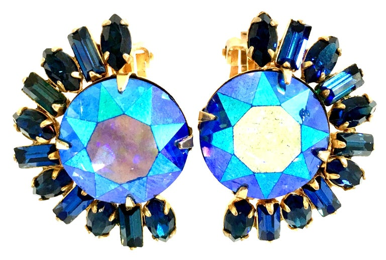20th Century Gold Plate & Peacock Blue Austrian Crystal Earrings By, Alice Caviness. These finely crafted