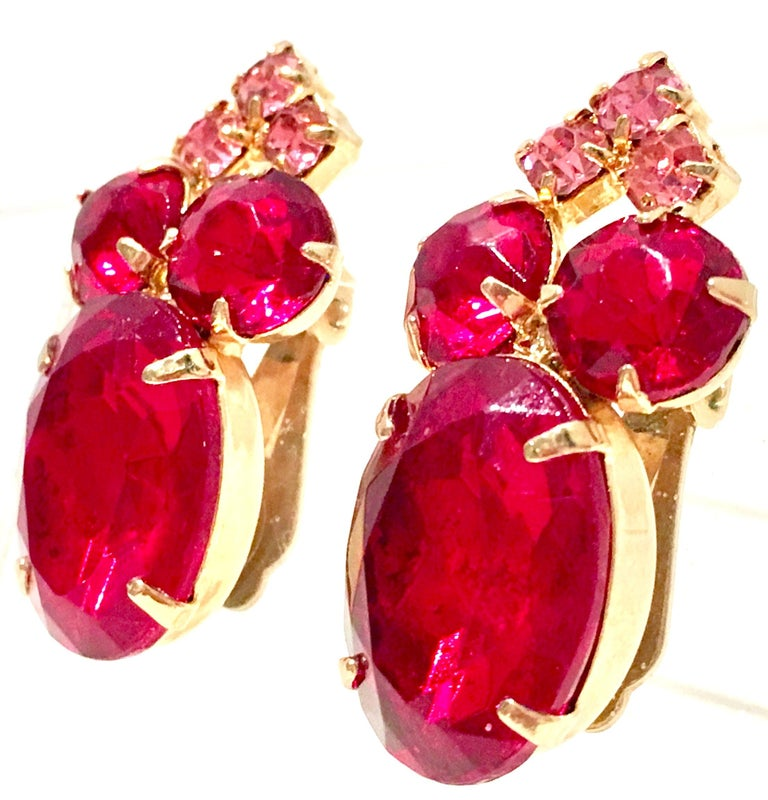 60'S Gold & Ruby Swarovski Crystal Earrings In Excellent Condition For Sale In West Palm Beach, FL