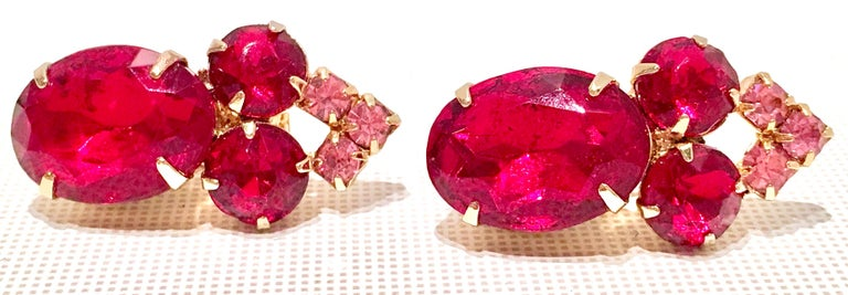 Women's 60'S Gold & Ruby Swarovski Crystal Earrings For Sale