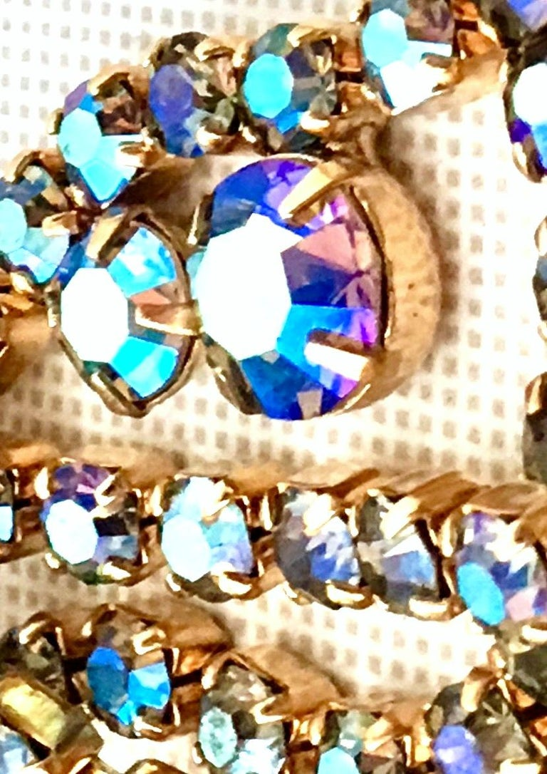 60'S Gold & Swarovski Crystal Necklace Earrings S/3 By Alice Caviness For Sale 5