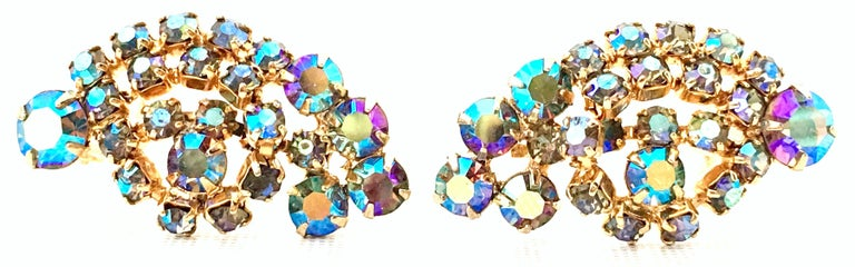 60'S Gold & Swarovski Crystal Necklace Earrings S/3 By Alice Caviness For Sale 8