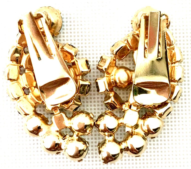 60'S Gold & Swarovski Crystal Necklace Earrings S/3 By Alice Caviness For Sale 10