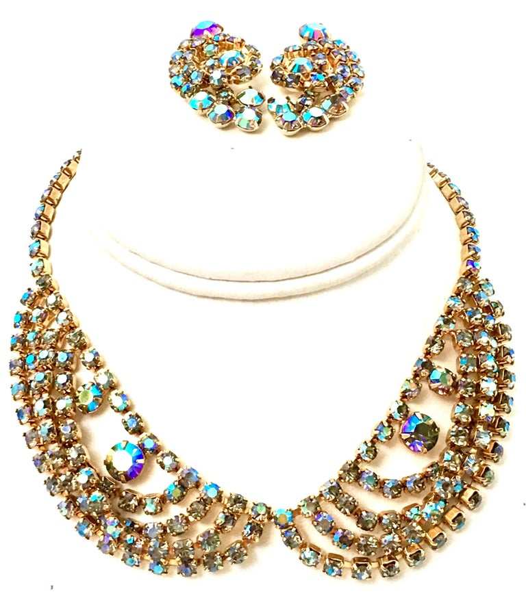 60'S Gold & Swarovski Crystal Necklace Earrings S/3 By Alice Caviness In Good Condition For Sale In West Palm Beach, FL