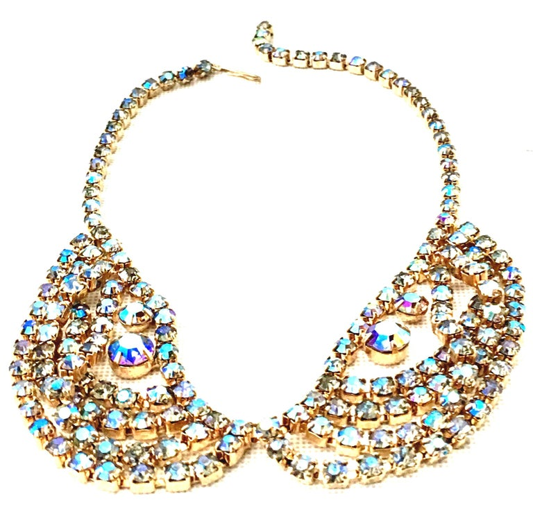 Women's 60'S Gold & Swarovski Crystal Necklace Earrings S/3 By Alice Caviness For Sale