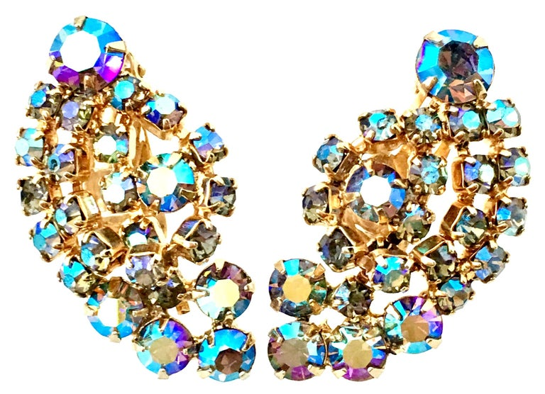 60'S Gold & Swarovski Crystal Necklace Earrings S/3 By Alice Caviness For Sale 7