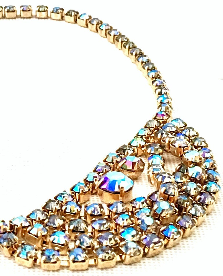 60'S Gold & Swarovski Crystal Necklace Earrings S/3 By Alice Caviness For Sale 2