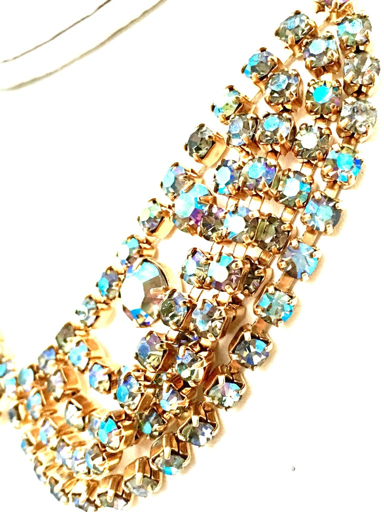 60'S Gold & Swarovski Crystal Necklace Earrings S/3 By Alice Caviness For Sale 3