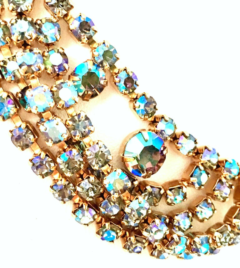 60'S Gold & Swarovski Crystal Necklace Earrings S/3 By Alice Caviness For Sale 4