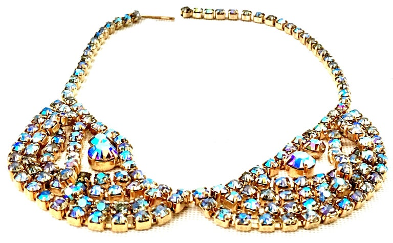 60'S Gold & Swarovski Crystal Necklace Earrings S/3 By Alice Caviness For Sale 1