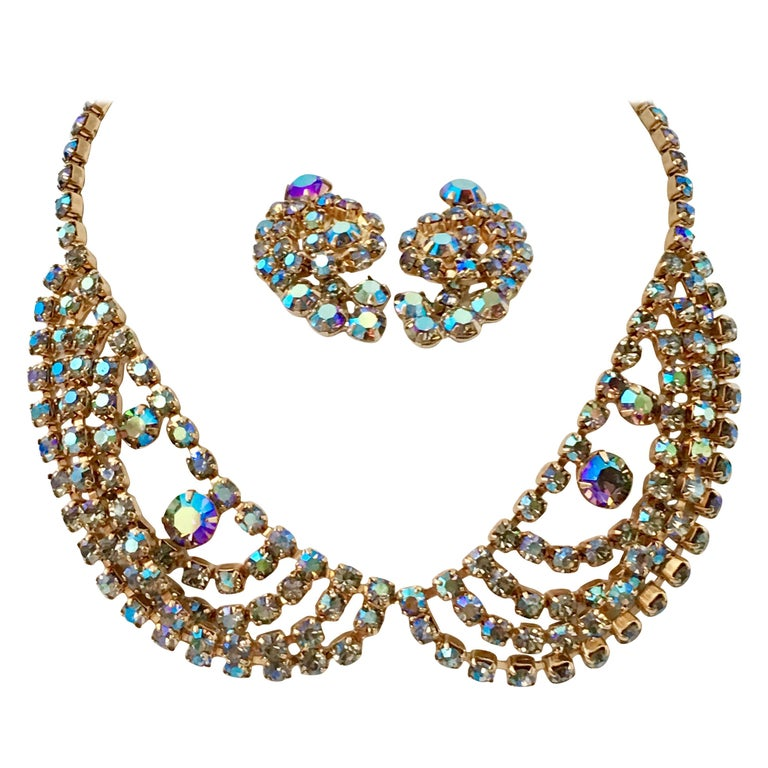 60'S Gold & Swarovski Crystal Necklace Earrings S/3 By Alice Caviness For Sale