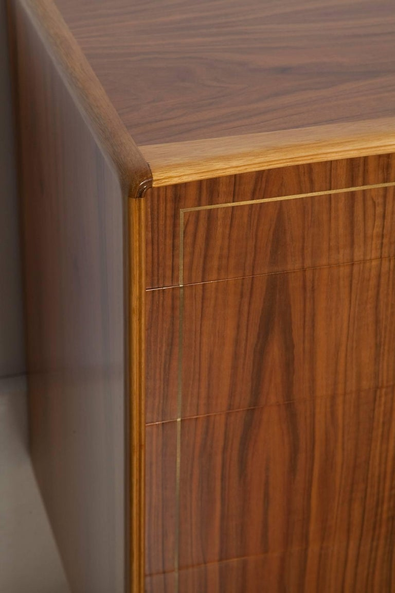 1960s Italian Brass Inlaid Walnut Dresser by Erno Fabry In Excellent Condition For Sale In North Miami, FL
