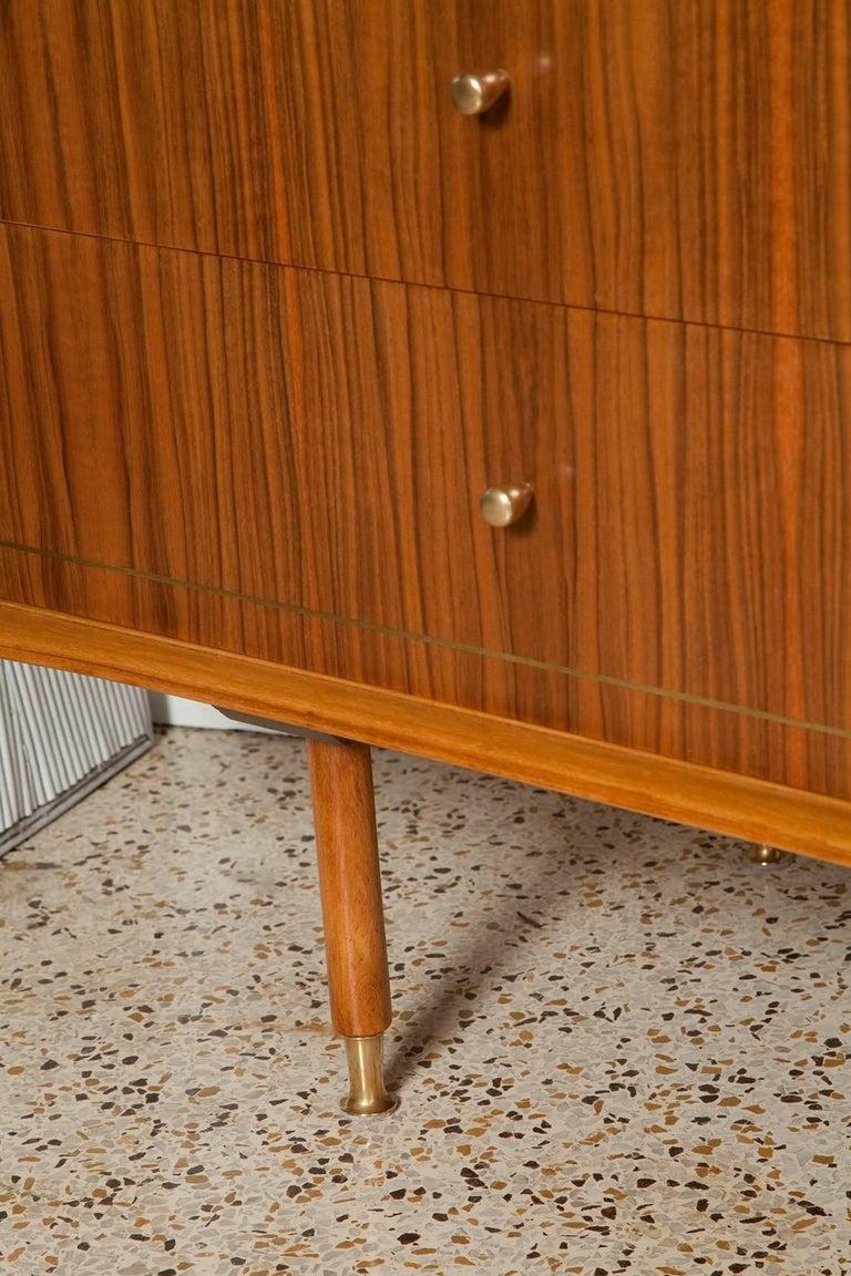 1960s Italian Brass Inlaid Walnut Dresser by Erno Fabry For Sale 3