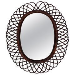 1960s Italian Large Oval Mahogany Colored Bamboo Wall Mirror in Loop Design